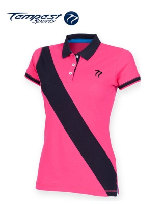 Tempest leisure women 39 s pink navy stripe rugby style polo for Pink and purple striped rugby shirt