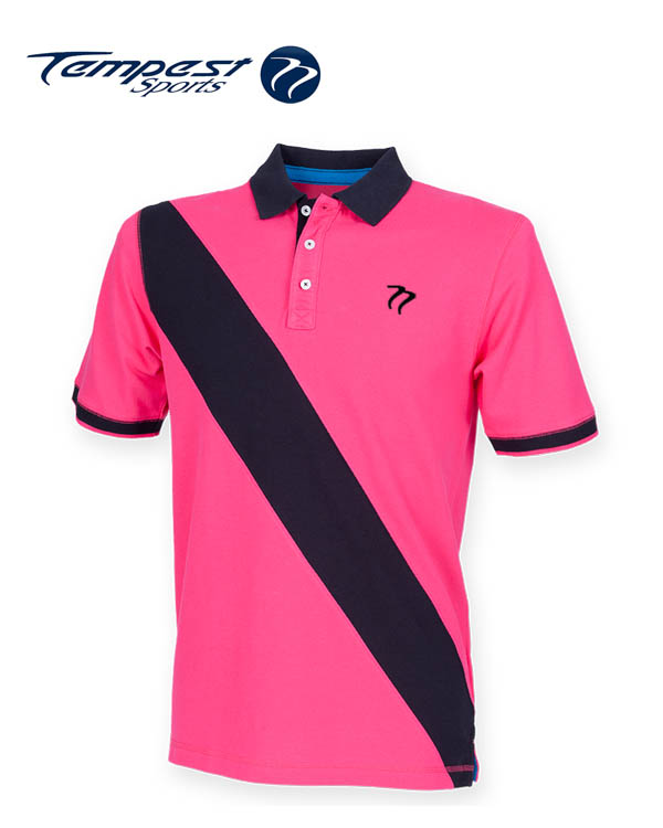 Tempest leisure pink navy stripe rugby style polo shirt for Pink and purple striped rugby shirt