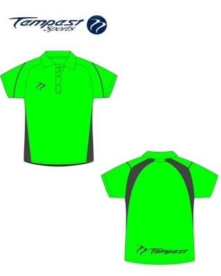 Hockey Umpire Shirt Men's Lime Green Black Polo