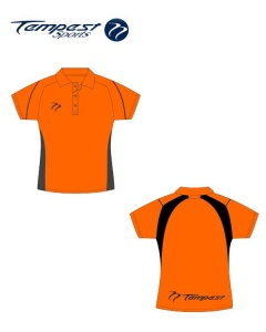 Umpire Women's Orange Black Polo Shirt