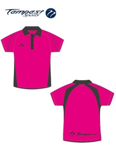 Umpire Style Men's Pink Black Polo Shirt
