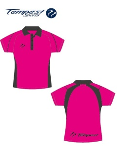 Umpire  Women's Pink Black Polo Shirt
