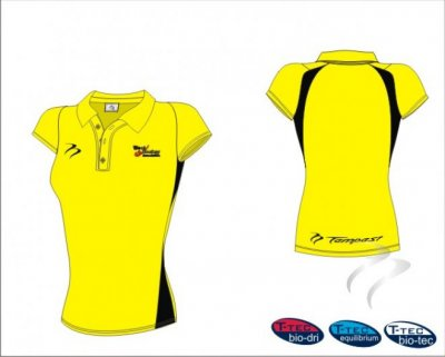 West Panel Hockey Umpires Style Women's Yellow Black Polo Shirt
