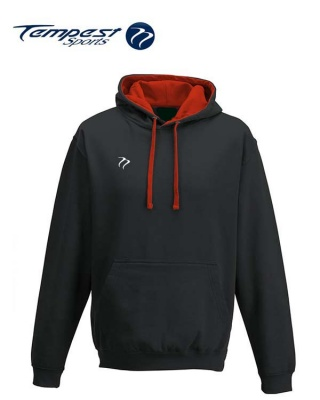 Tempest Lightweight Black Fire Red Hooded Sweatshirt