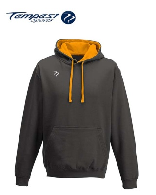Tempest Lightweight Charcoal Grey Orange  Hooded Sweatshirt