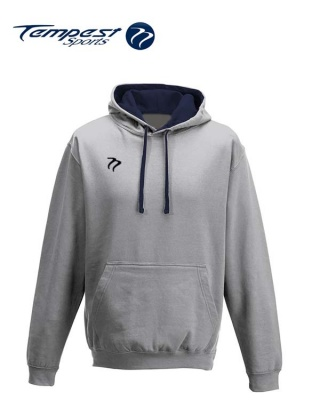 Tempest Lightweight Grey Navy Hooded Sweatshirt