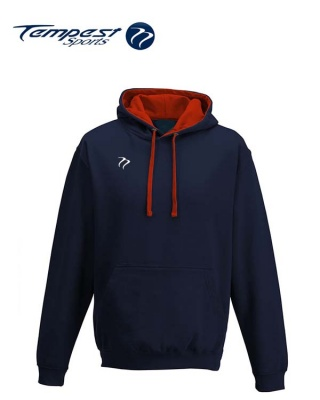 Tempest Lightweight Navy Red Hooded Sweatshirt