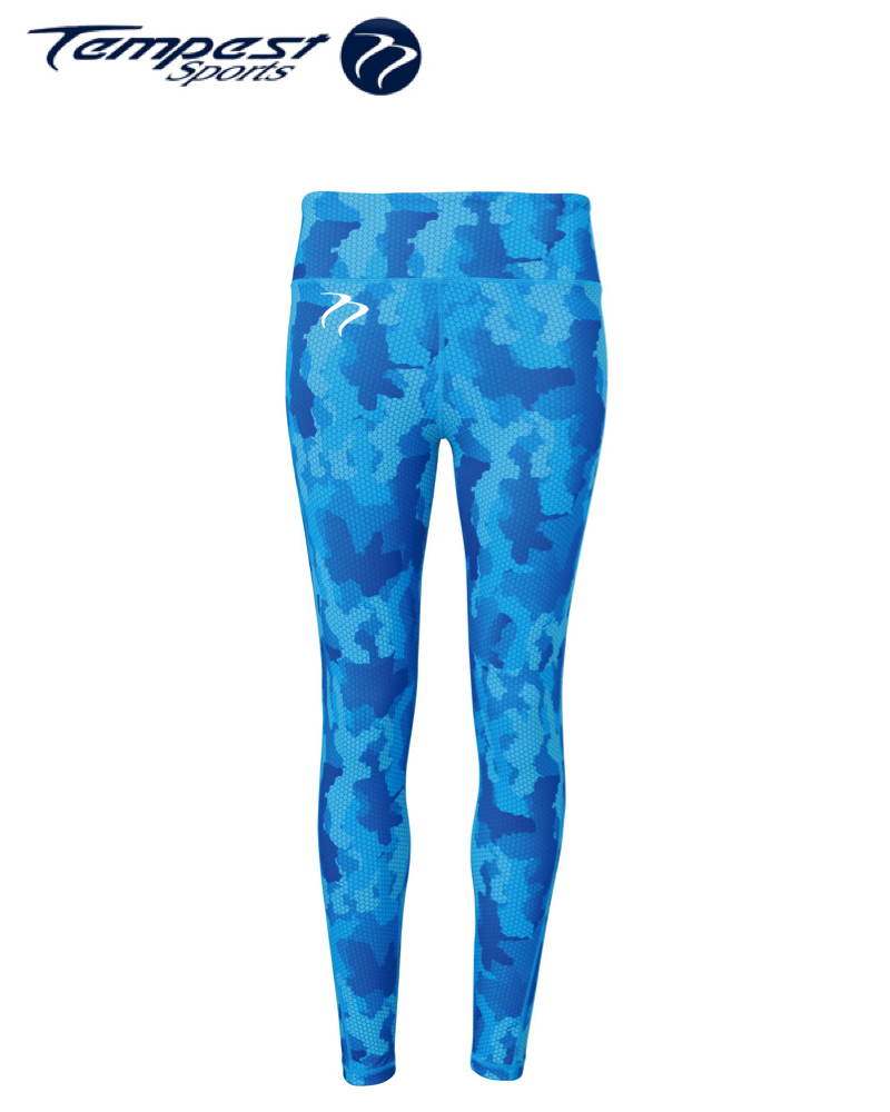 Tempest Women's performance Hexoflage leggings - Sapphire