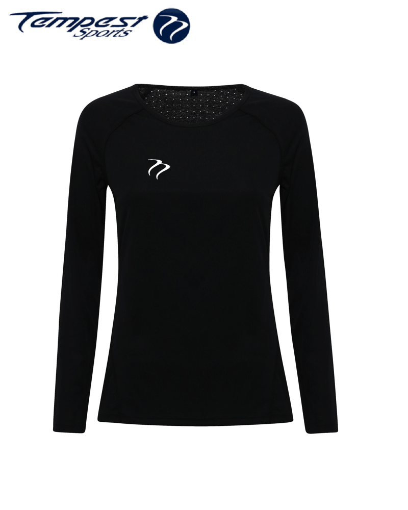 Tempest Women's performance 'laser cut' scooped top - Black