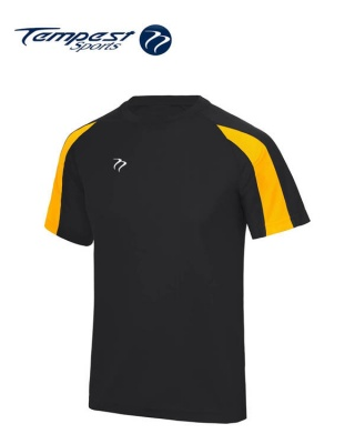 Tempest Lightweight Black Yellow Mens Training Shirt