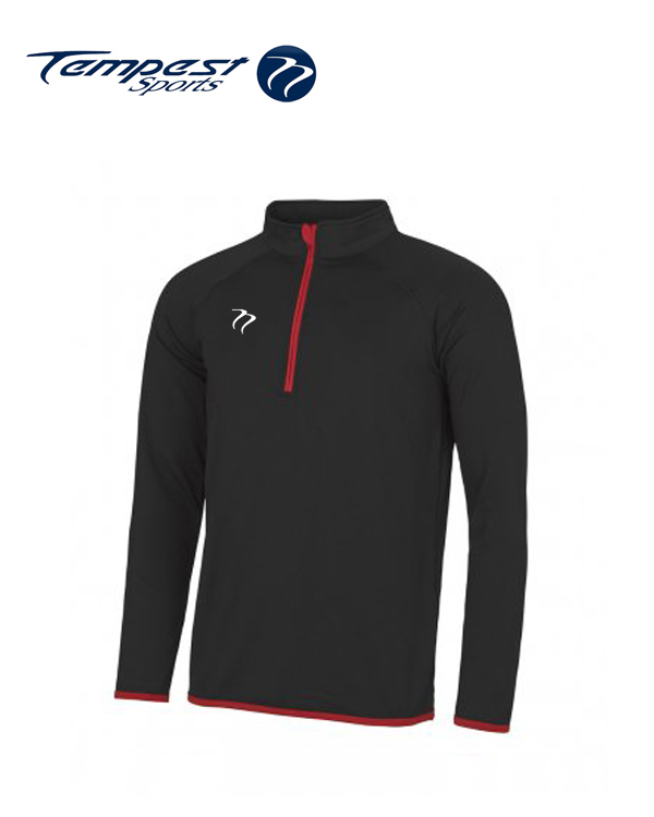 Mens Black Red Half Zip Midlayer