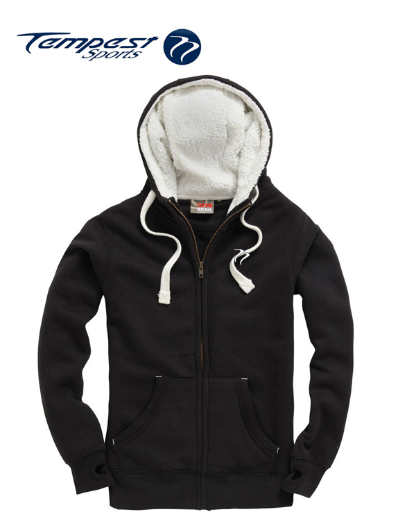 Sherpa Fleece Dusty Black Zip Hoodie