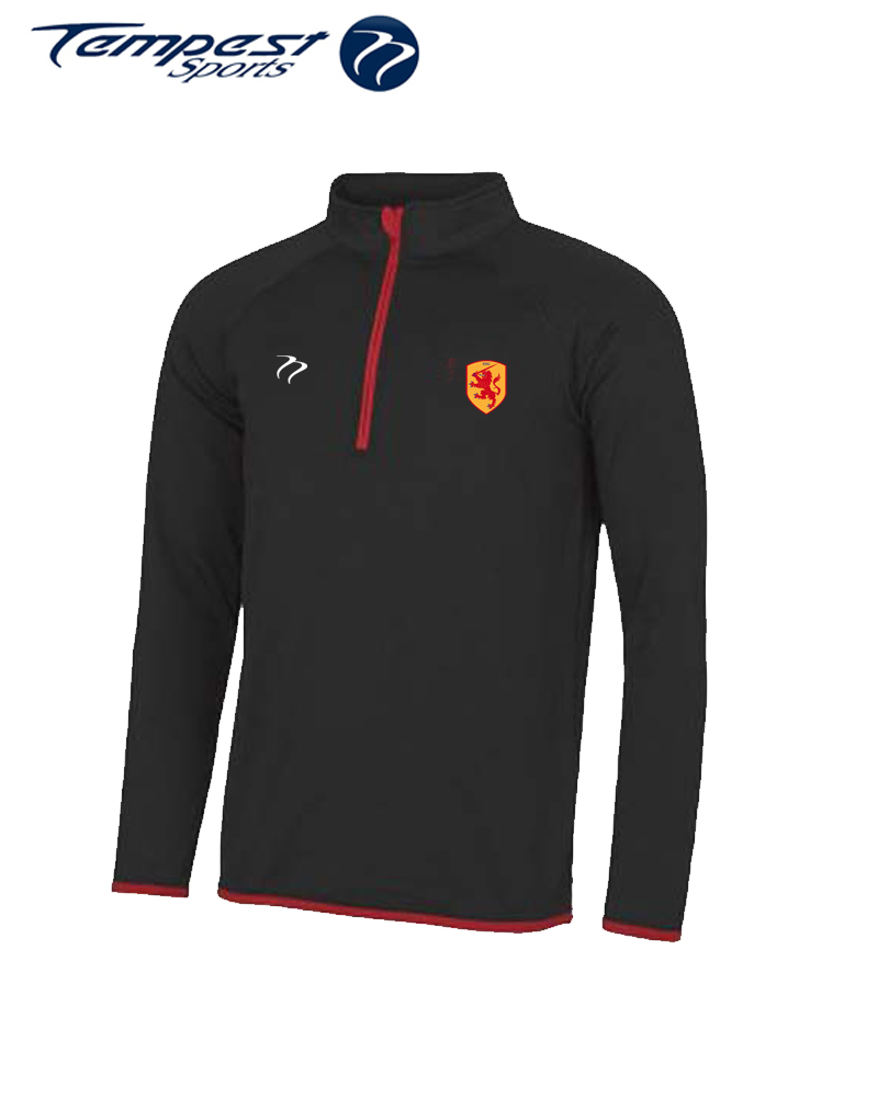 SHC Black Red Half Zip Midlayer