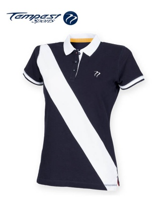 Tempest Leisure Women's Navy White Stripe Rugby Style Polo Shirt[1]