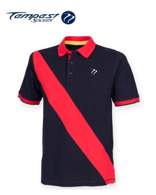 Tempest Leisure Navy Red Stripe Rugby Style Polo Shirt
