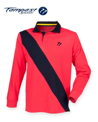 Tempest Leisure Red Navy Stripe Rugby Shirt