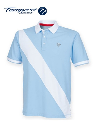 Tempest Leisure Sky White Stripe Rugby Style Polo Shirt