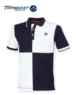 Tempest Leisure White Navy Quartered Rugby Style Polo Shirt