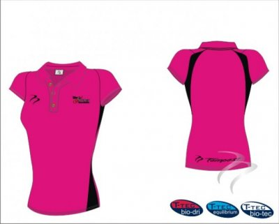 West Panel Hockey Umpires Style Women's Pink Black Polo Shirt