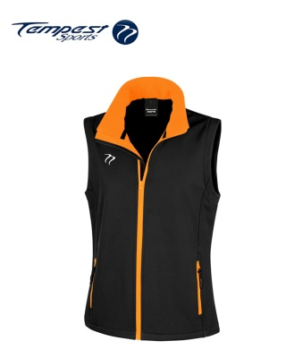 Tempest Black Orange Soft Shell Womens Gilet