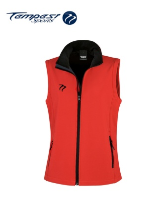 Tempest Red Black  Soft Shell Womens Gilet