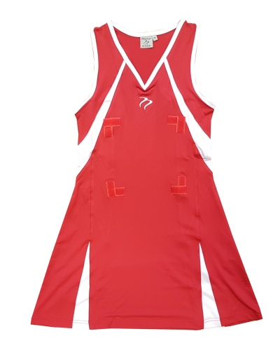 JOB LOT 48 Dress Tempest Sports Bio14 Stretch Red White Netball Dress CLEARANCE