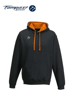 Tempest Lightweight Black Orange Hooded Sweatshirt