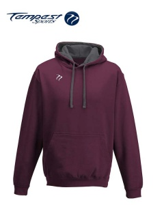 Tempest Lightweight Burgundy Charcoal Grey Hooded Sweatshirt