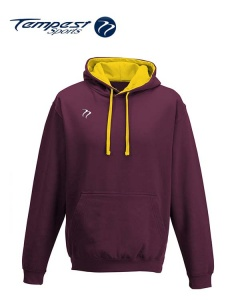 Tempest Lightweight Burgundy Gold Hooded Sweatshirt