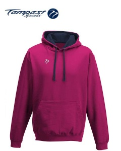 Tempest Lightweight Hot Pink Navy Hooded Sweatshirt