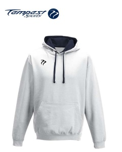 Tempest Lightweight White Navy Hooded Sweatshirt