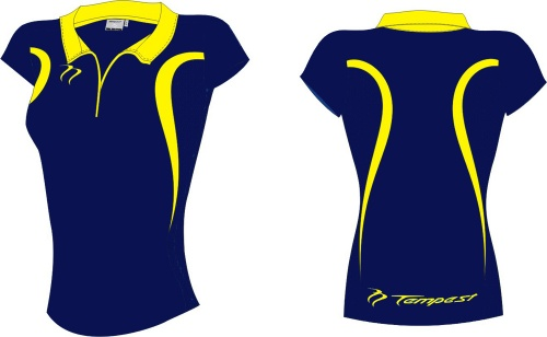 Lots of 20 Evo Style Women's Dark Navy/Yellow Playing Shirt lycra
