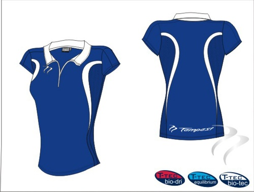 28 Evo Style Women's Royal White Playing Shirt lycra
