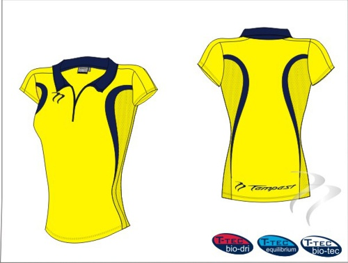 Lots of 20 Evo Style Women's Yellow/Dark Navy Playing Shirt lycra
