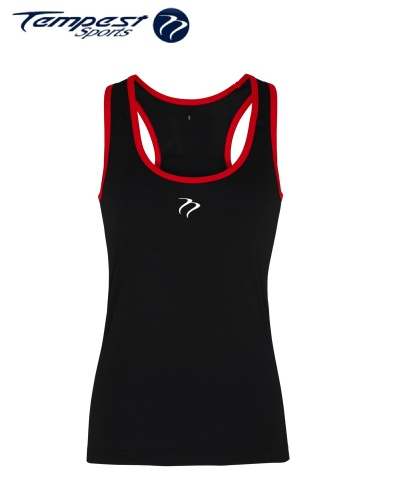 Tempest Women's performance panelled fitness vest - Black Red