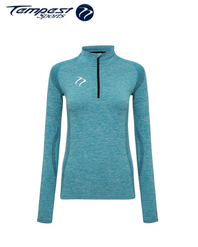 Tempest Women's seamless '3D fit' multi-sport performance zip top - Turquoise