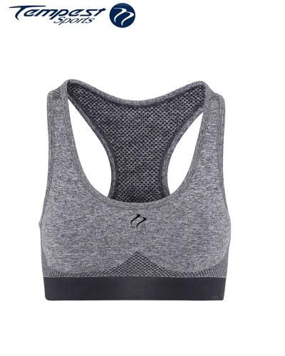 Ladies Seamless Grey Marl Sculpted Crop Top