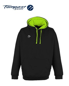 Tempest Lightweight Black Electric Green Hooded Sweatshirt