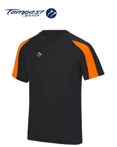 Tempest Lightweight Black Orange Mens Training Shirt
