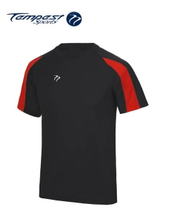 Tempest Lightweight Black Red  Mens Training Shirt