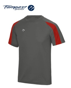 Tempest Lightweight Charcoal Grey Red  Mens Training Shirt