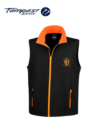 Birmingham HEMA Mens Black Orange Soft Shell Gilet