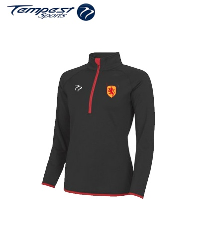 SHC Womens Black Red Half Zip Midlayer