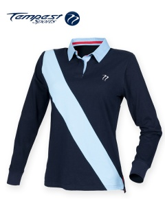 Tempest Leisure Navy Sky Women's Stripe Rugby Shirt