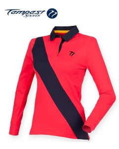 Tempest Leisure Red Navy Sky Women's Stripe Rugby Shirt