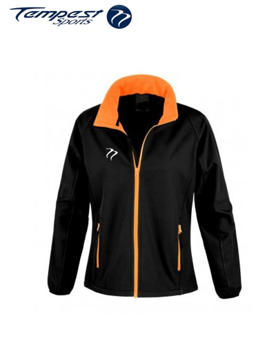 Umpires Women's Black Orange Soft Shell Jacket