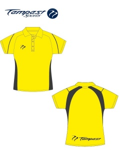 Umpire Style Women's Yellow Black Polo Shirt